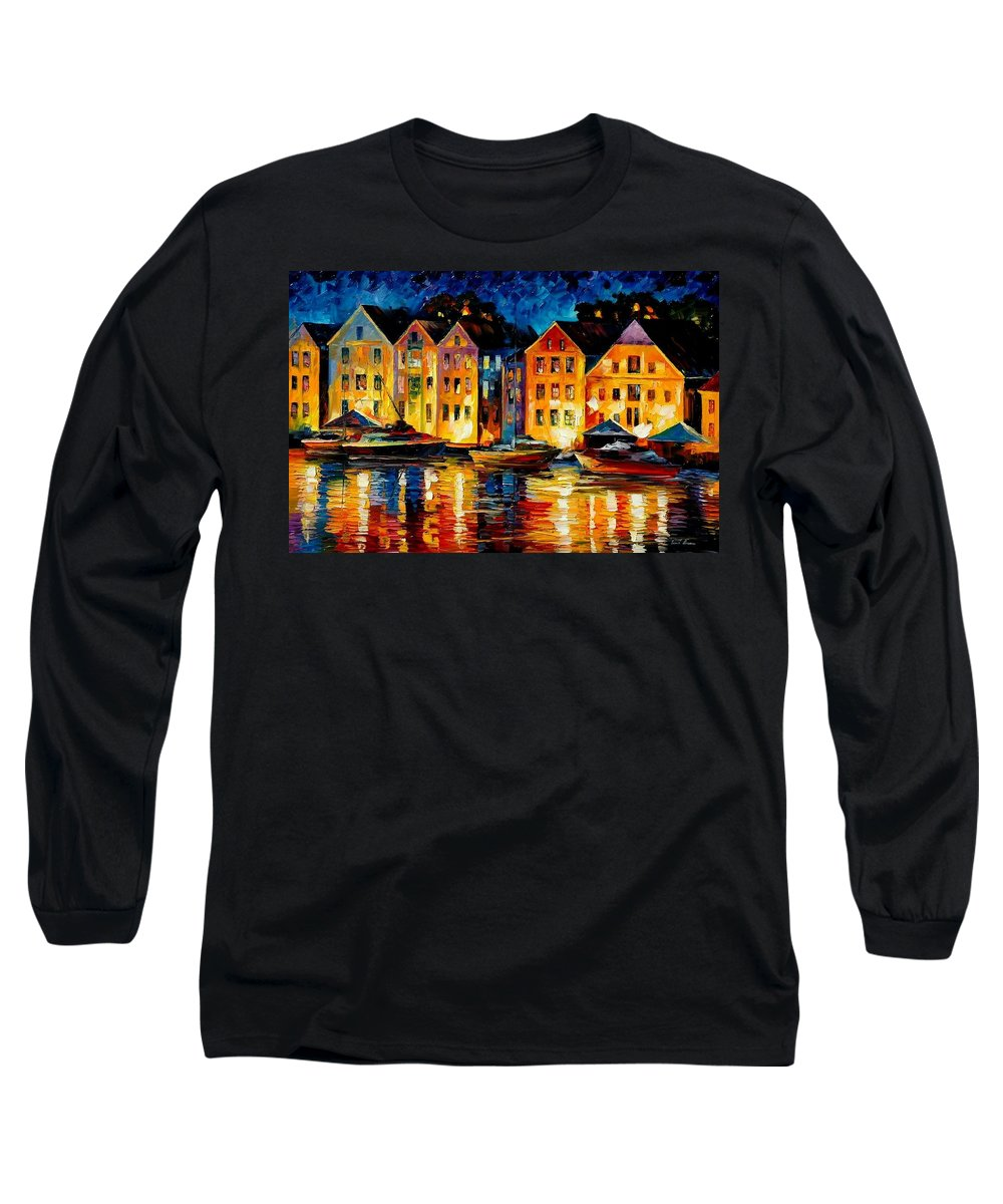 City Long Sleeve T-Shirt featuring the painting Night Resting Original Oil Painting by Leonid Afremov