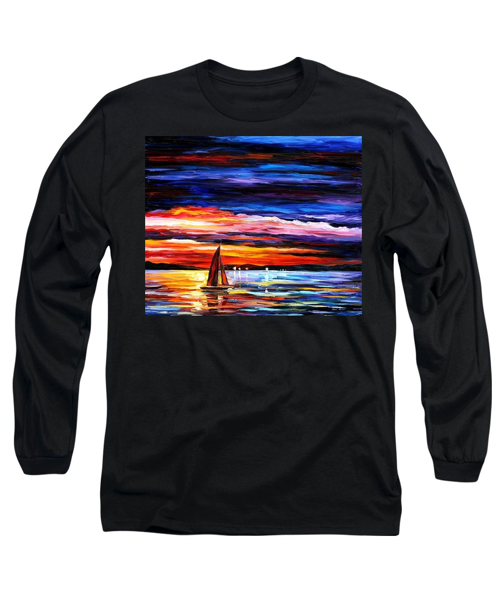 Seascape Long Sleeve T-Shirt featuring the painting Night Sea by Leonid Afremov