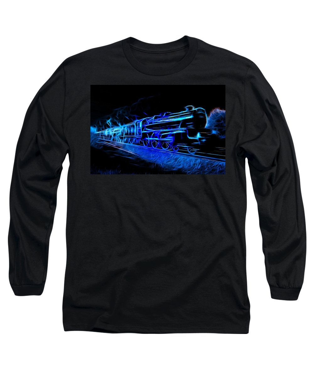 Steam Train Long Sleeve T-Shirt featuring the photograph Night Train To Romance by Aaron Berg
