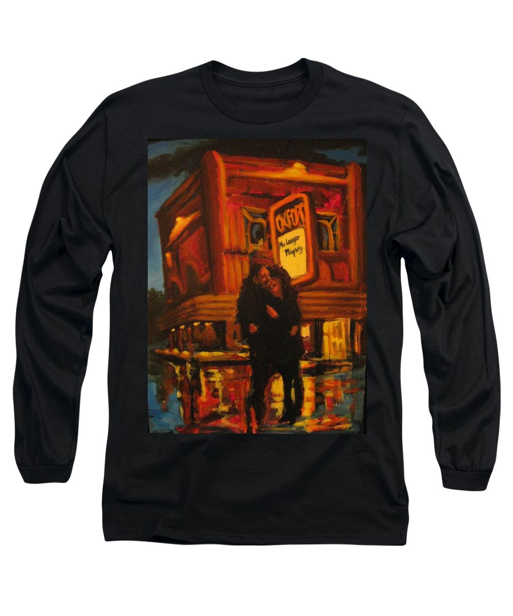 Wet Streets Long Sleeve T-Shirt featuring the painting No Longer Playing by John Malone