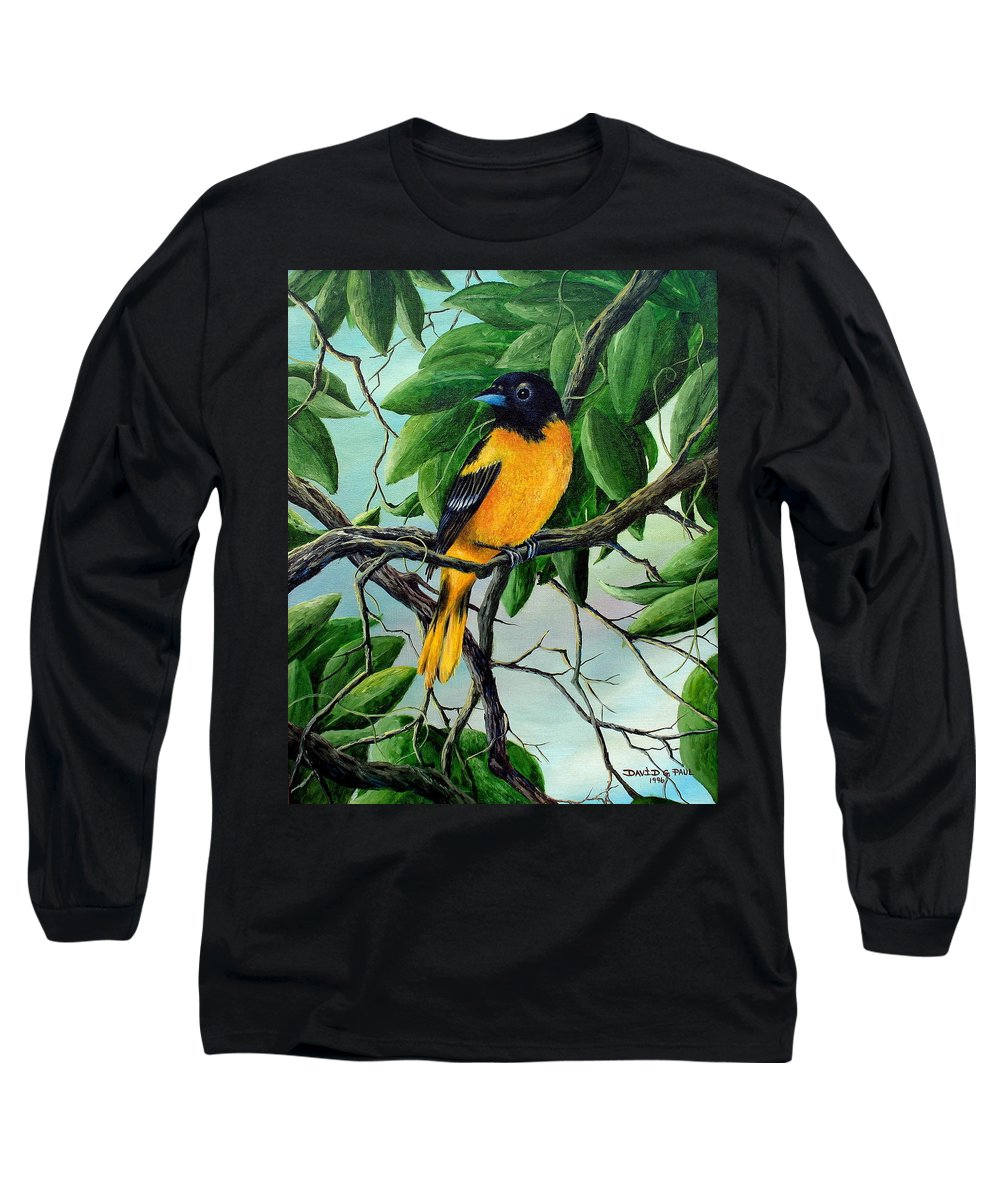 Oriole Long Sleeve T-Shirt featuring the painting Northern Oriole by David G Paul
