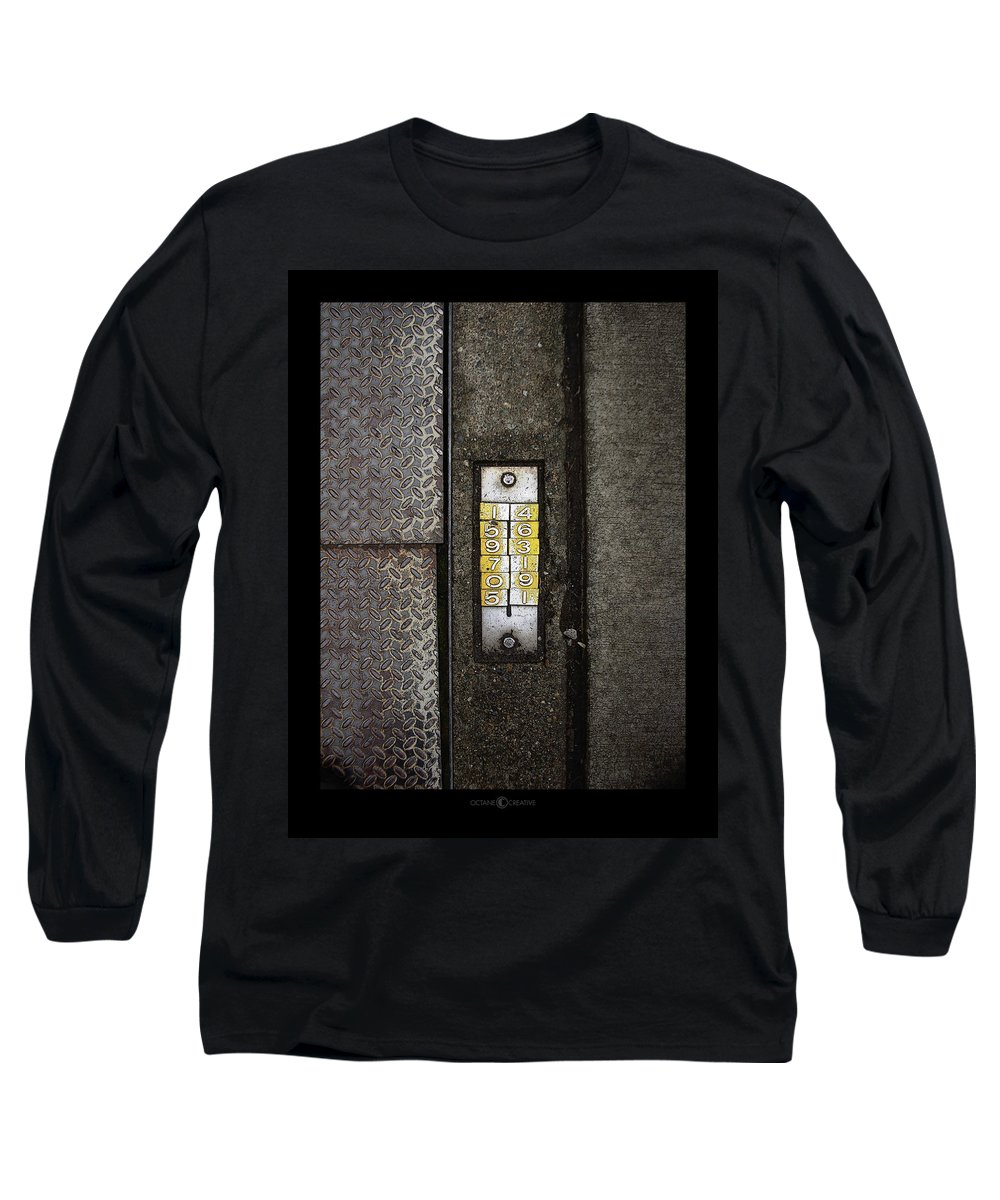 Numbers Long Sleeve T-Shirt featuring the photograph Numbers On The Sidewalk by Tim Nyberg