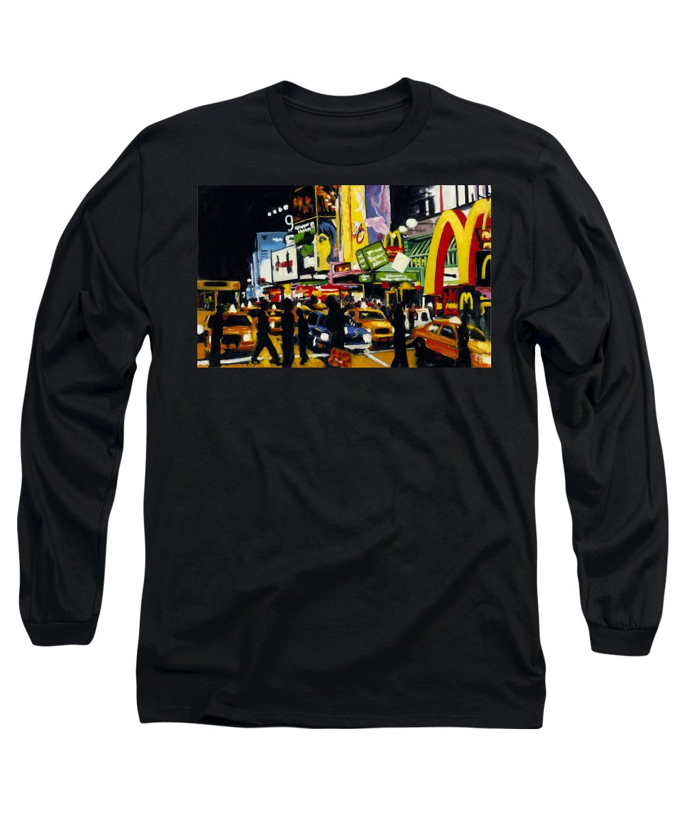 New York Long Sleeve T-Shirt featuring the painting Nyc II The Temple Of M by Robert Reeves