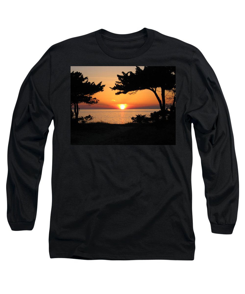 Ocracoke Long Sleeve T-Shirt featuring the photograph Ocracoke Island Winter Sunset by Wayne Potrafka