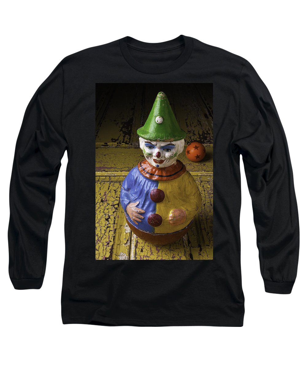 Clown Long Sleeve T-Shirt featuring the photograph Old Clown And Ball by Garry Gay