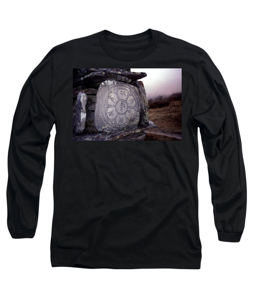 Langtang Long Sleeve T-Shirt featuring the photograph Om Mani Padme Hum by Patrick Klauss