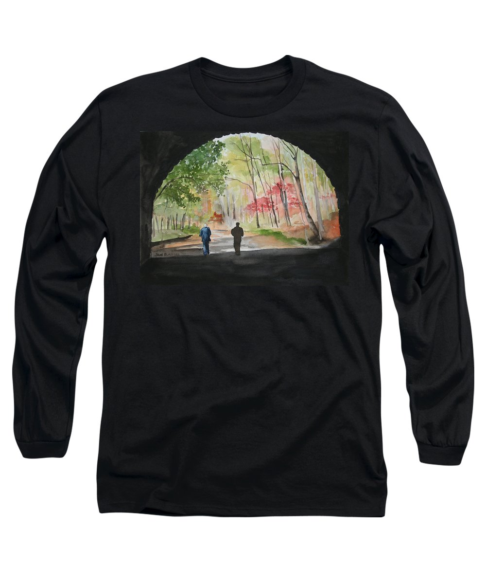 Road Long Sleeve T-Shirt featuring the painting On The Road To Nowhere by Jean Blackmer