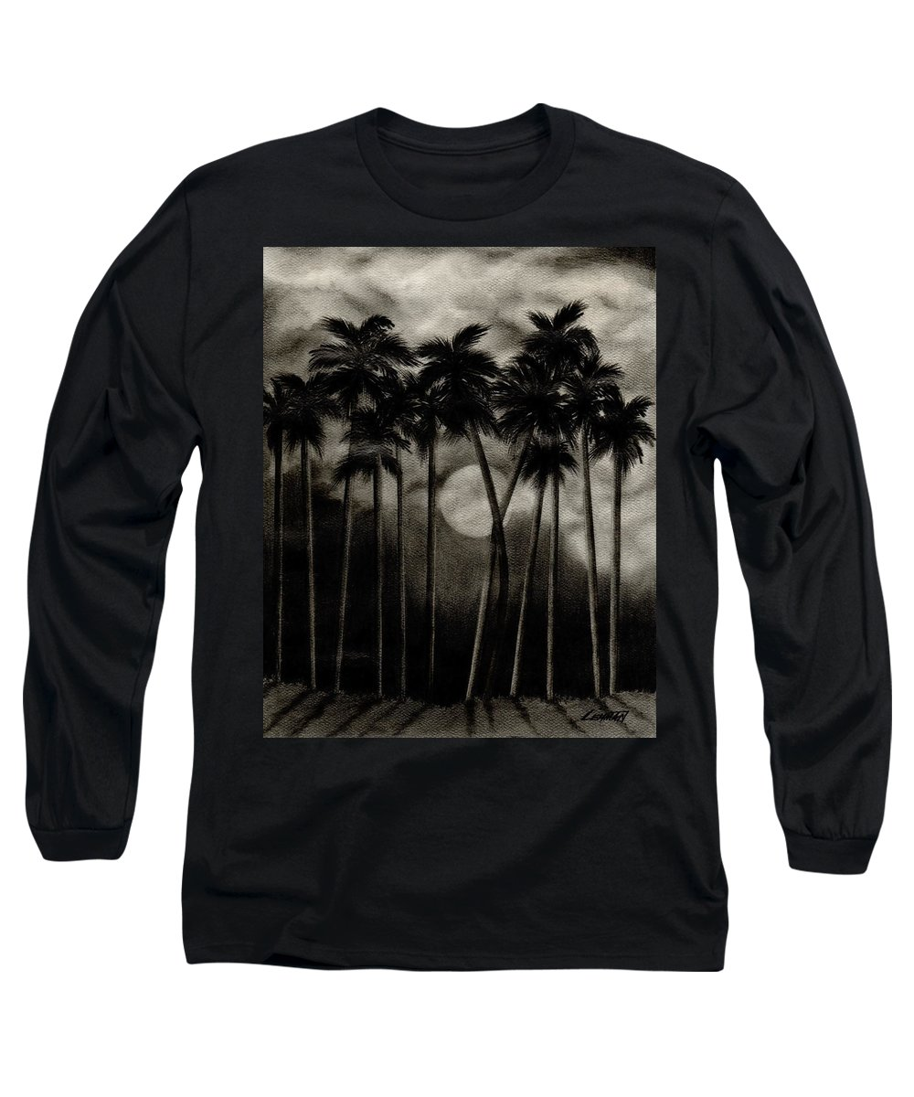 Original Moonlit Palm Trees Long Sleeve T-Shirt featuring the drawing Original Moonlit Palm Trees by Larry Lehman