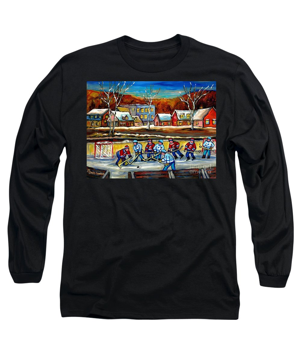 Country Hockey Rink Long Sleeve T-Shirt featuring the painting Outdoor Hockey Rink by Carole Spandau
