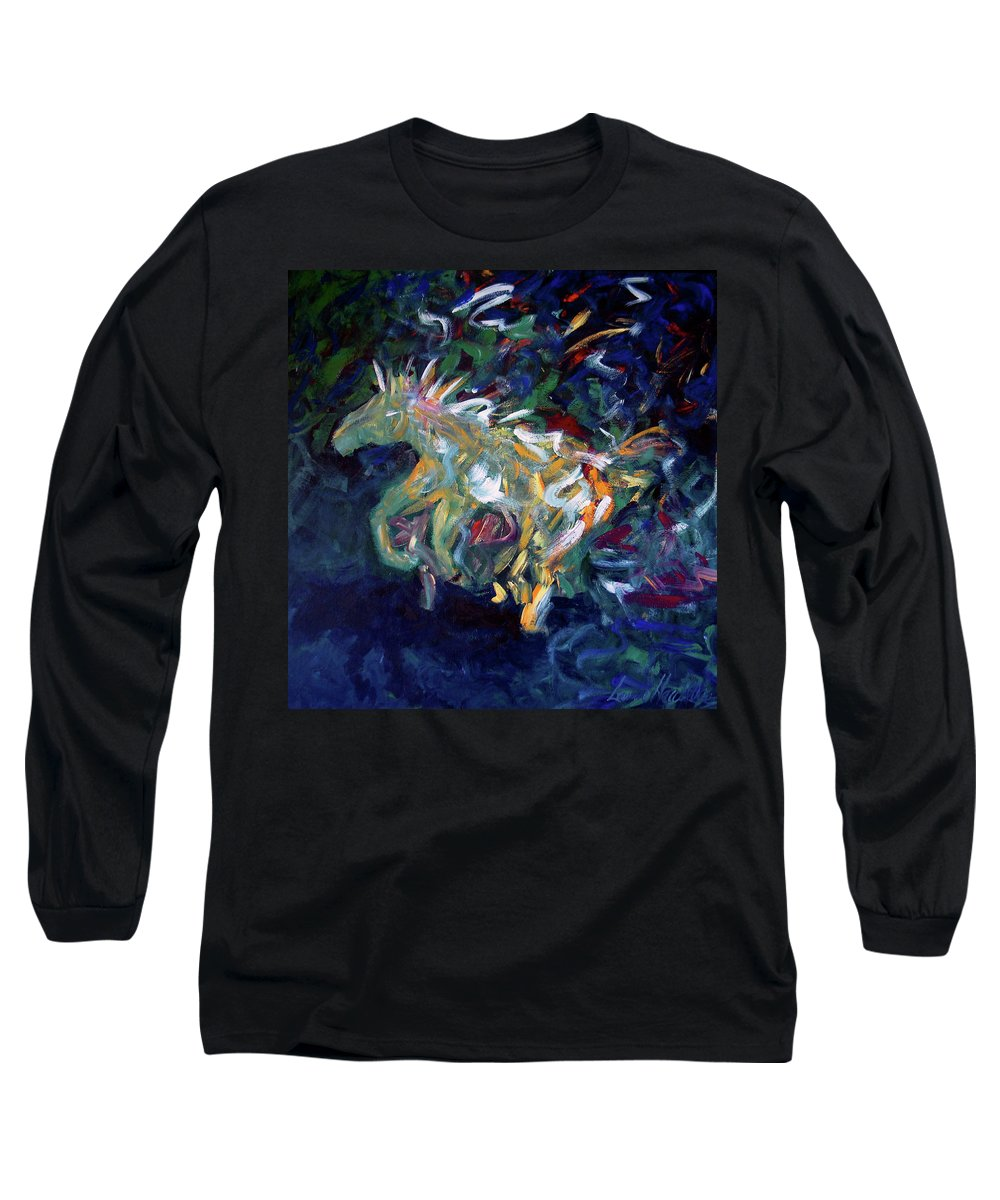 Abstract Horse Long Sleeve T-Shirt featuring the painting Painted Pony by Lance Headlee