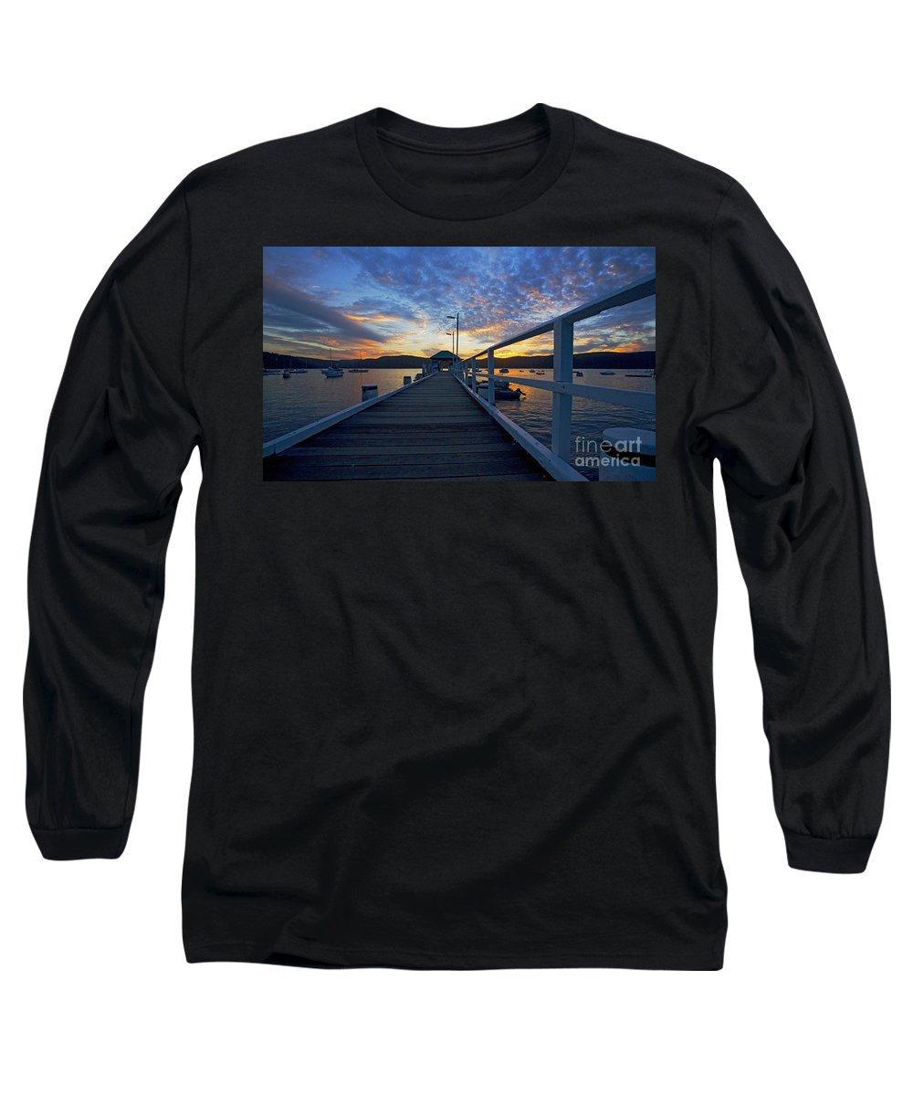 Palm Beach Sydney Wharf Sunset Dusk Water Pittwater Long Sleeve T-Shirt featuring the photograph Palm Beach Wharf At Dusk by Sheila Smart Fine Art Photography