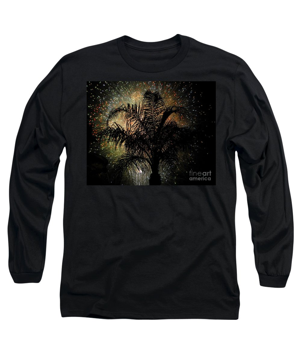 Fireworks Long Sleeve T-Shirt featuring the photograph Palm Tree Fireworks by David Lee Thompson