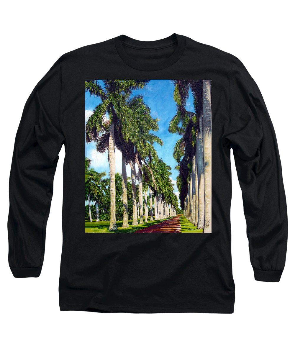 Palms Long Sleeve T-Shirt featuring the painting Palms by Jose Manuel Abraham