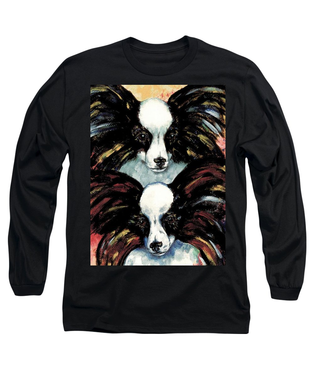 Papillon Long Sleeve T-Shirt featuring the painting Papillon De Mardi Gras by Kathleen Sepulveda