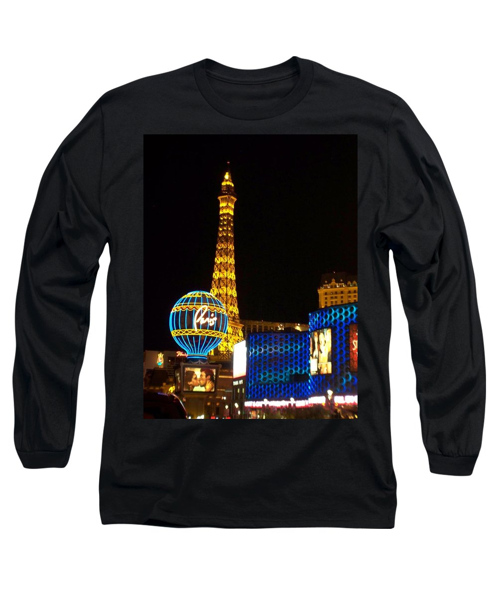Vegas Long Sleeve T-Shirt featuring the photograph Paris Hotel At Night by Anita Burgermeister