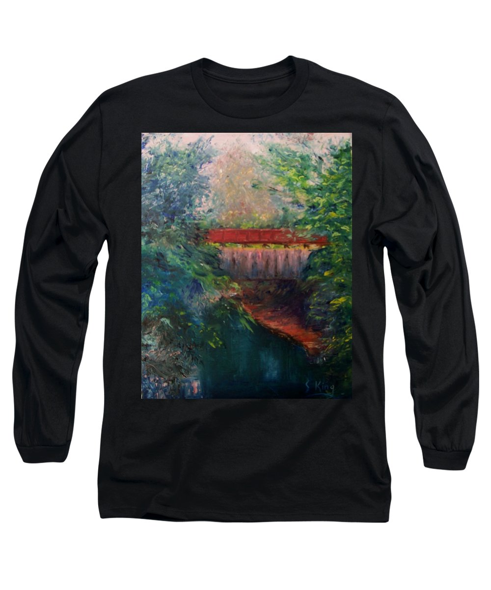 Landscape Long Sleeve T-Shirt featuring the painting Parke County by Stephen King
