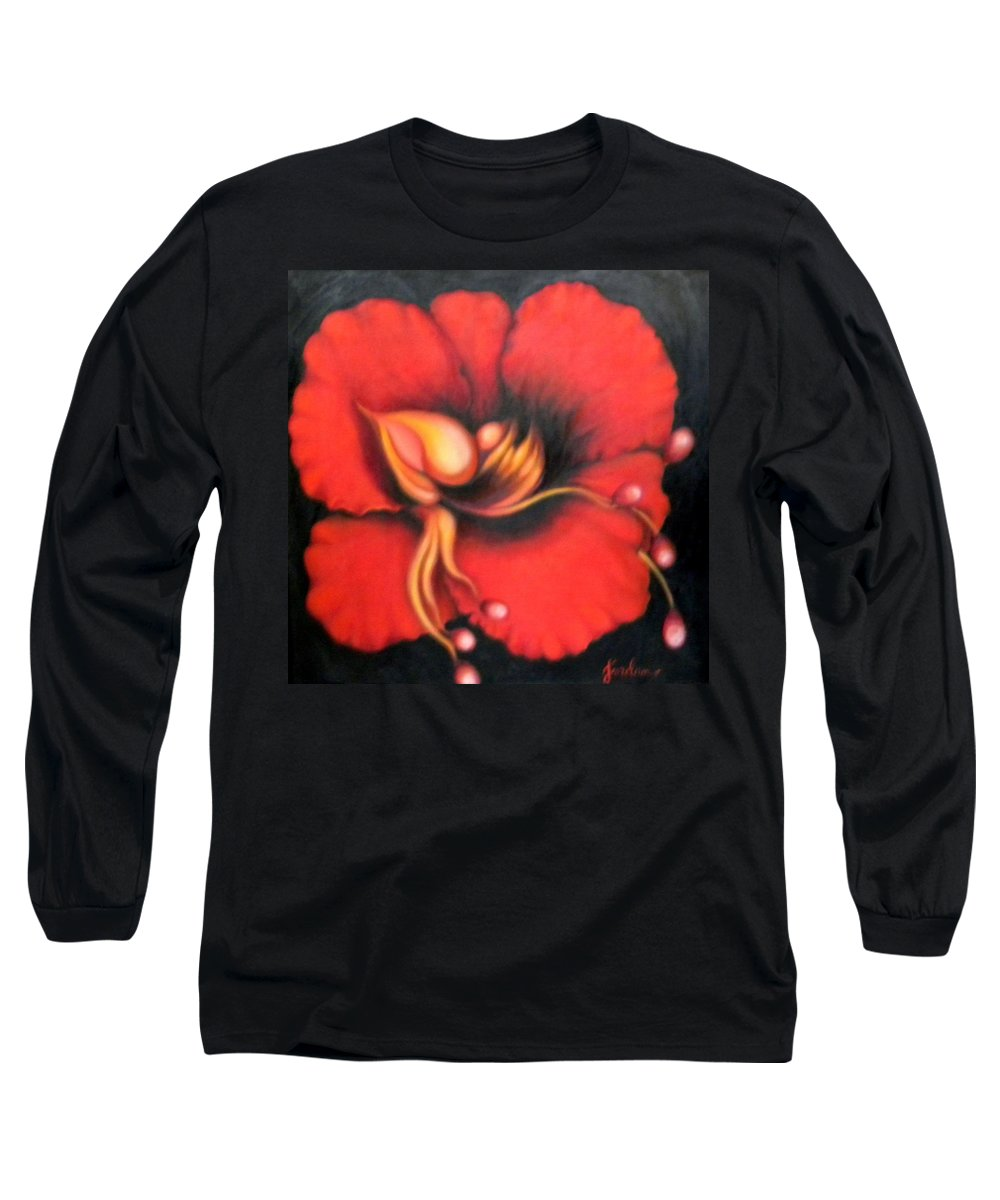 Red Surreal Bloom Artwork Long Sleeve T-Shirt featuring the painting Passion Flower by Jordana Sands