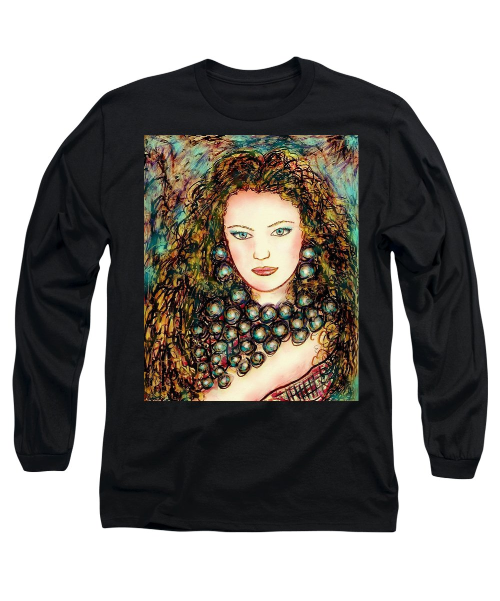 Woman Long Sleeve T-Shirt featuring the painting Paula by Natalie Holland