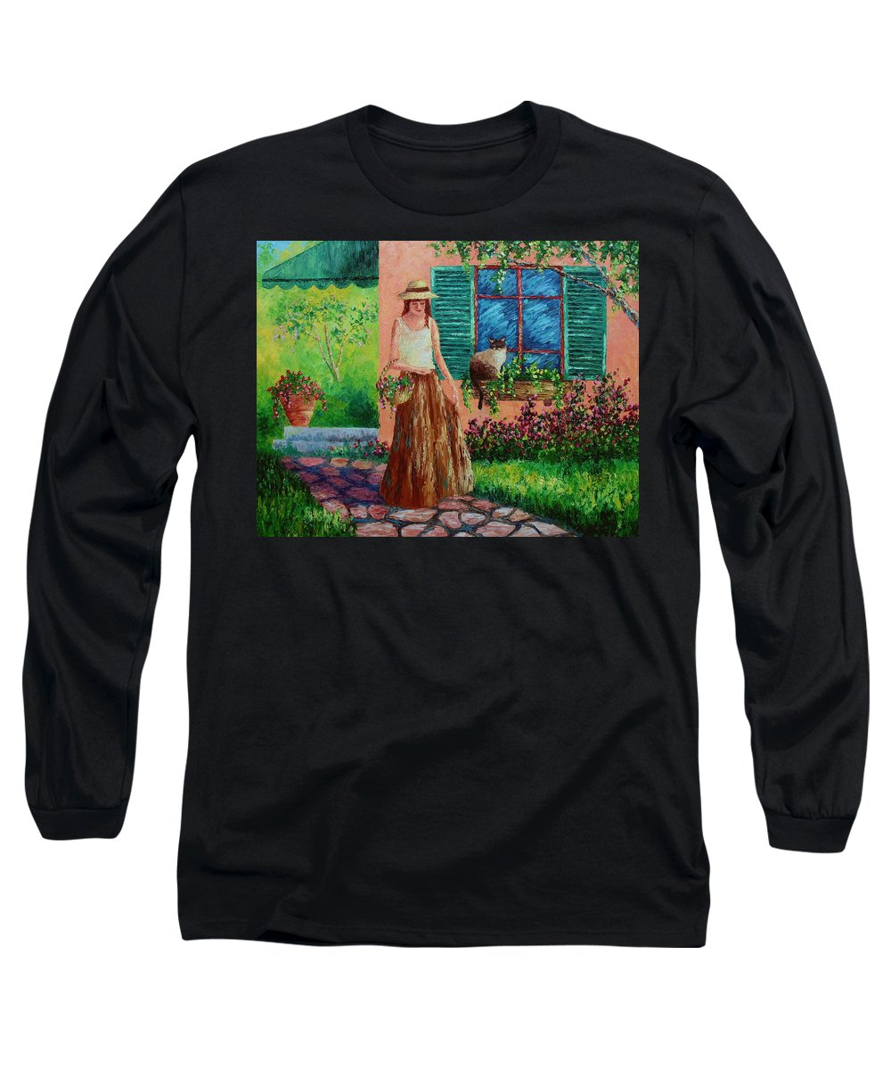 Woman Long Sleeve T-Shirt featuring the painting Peaceful Thoughts by David G Paul
