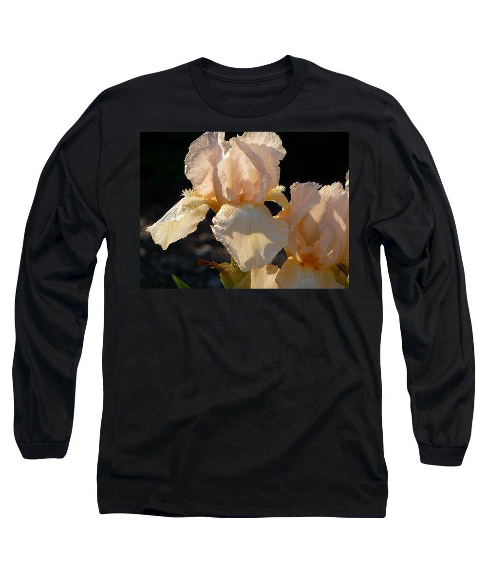 Flower. Iris Long Sleeve T-Shirt featuring the photograph Peach Bearded Iris by Ruth Kamenev