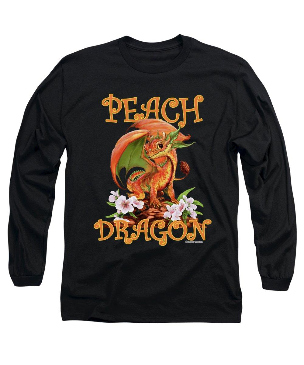 Peach Long Sleeve T-Shirt featuring the digital art Peach Dragon by Stanley Morrison