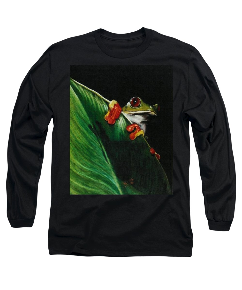 Frog Long Sleeve T-Shirt featuring the drawing Peek-a-boo by Barbara Keith