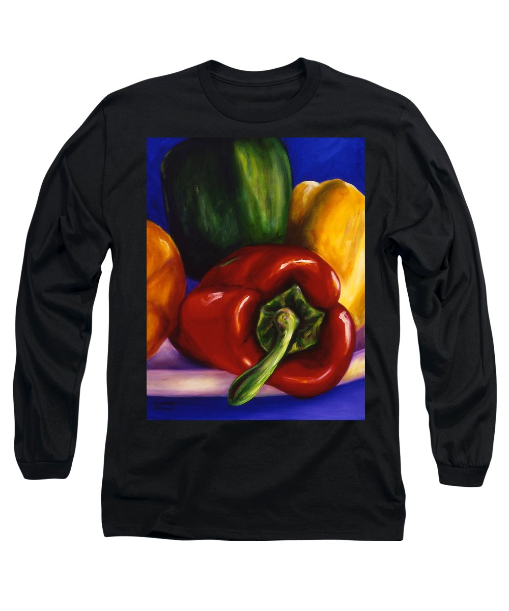 Still Life Long Sleeve T-Shirt featuring the painting Peppers On Peppers by Shannon Grissom