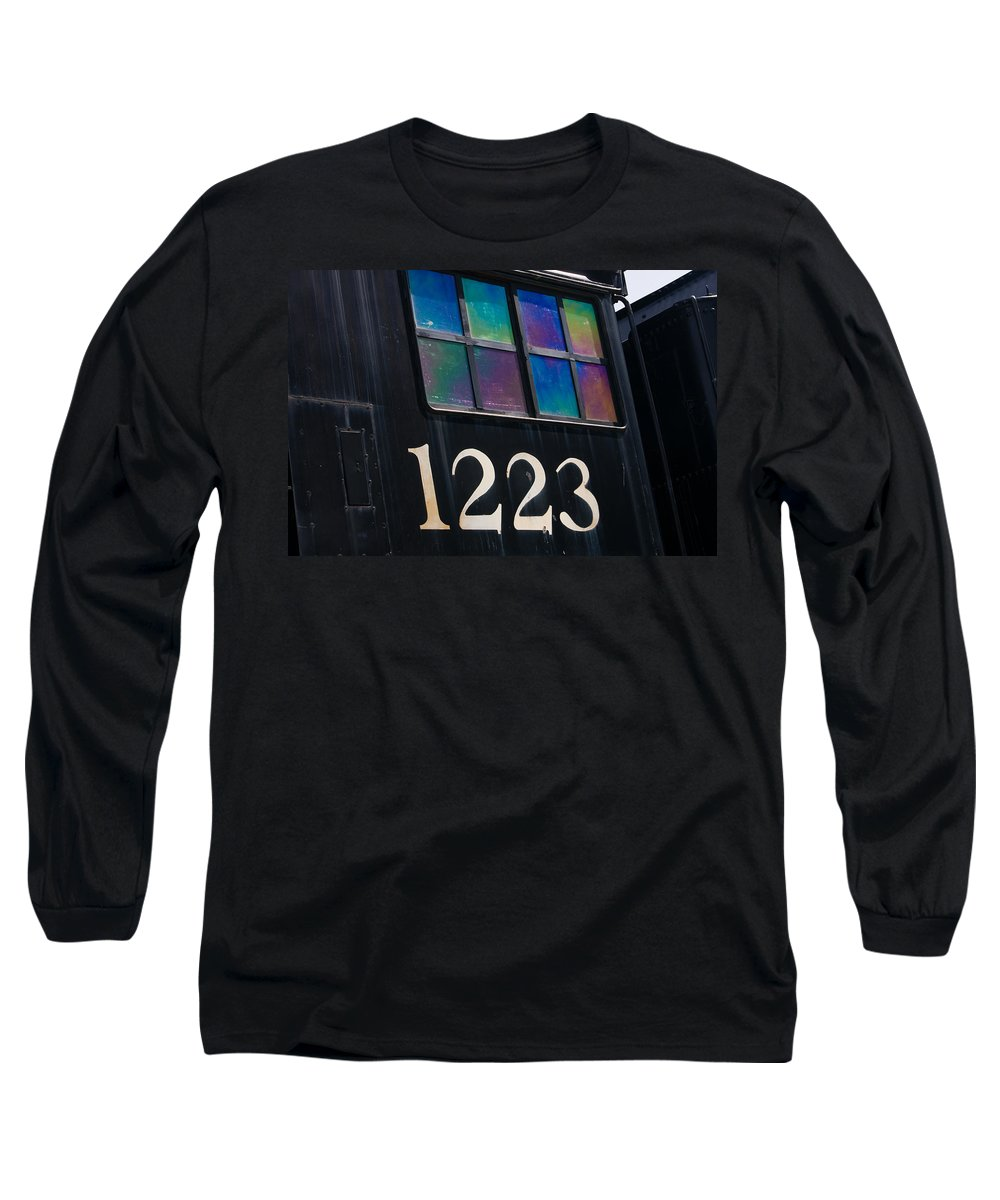 3scape Long Sleeve T-Shirt featuring the photograph Pere Marquette Locomotive 1223 by Adam Romanowicz