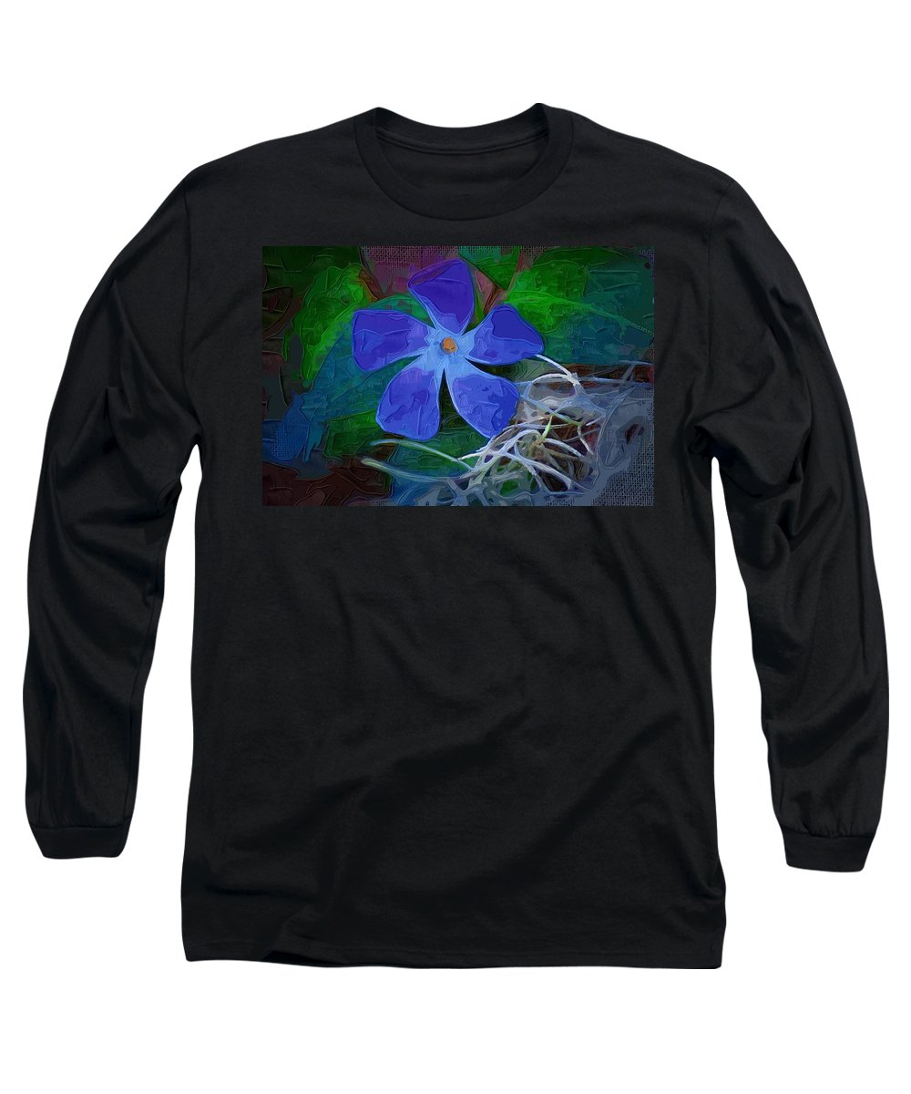 Flower Long Sleeve T-Shirt featuring the digital art Periwinkle Blue by Donna Bentley
