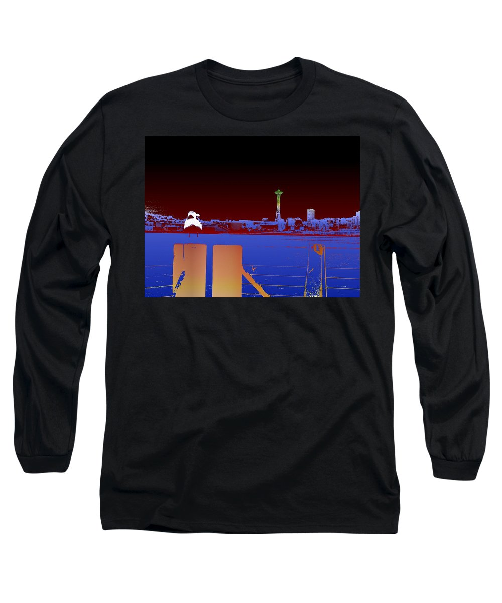 Seattle Long Sleeve T-Shirt featuring the digital art Pier With A View by Tim Allen