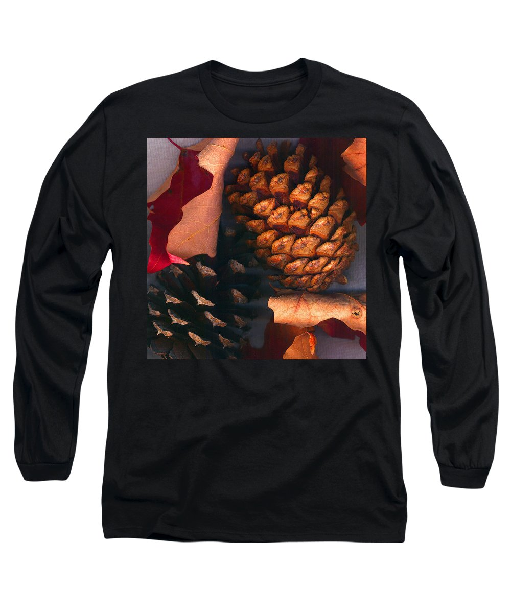 Pine Cones Long Sleeve T-Shirt featuring the photograph Pine Cones And Leaves by Nancy Mueller
