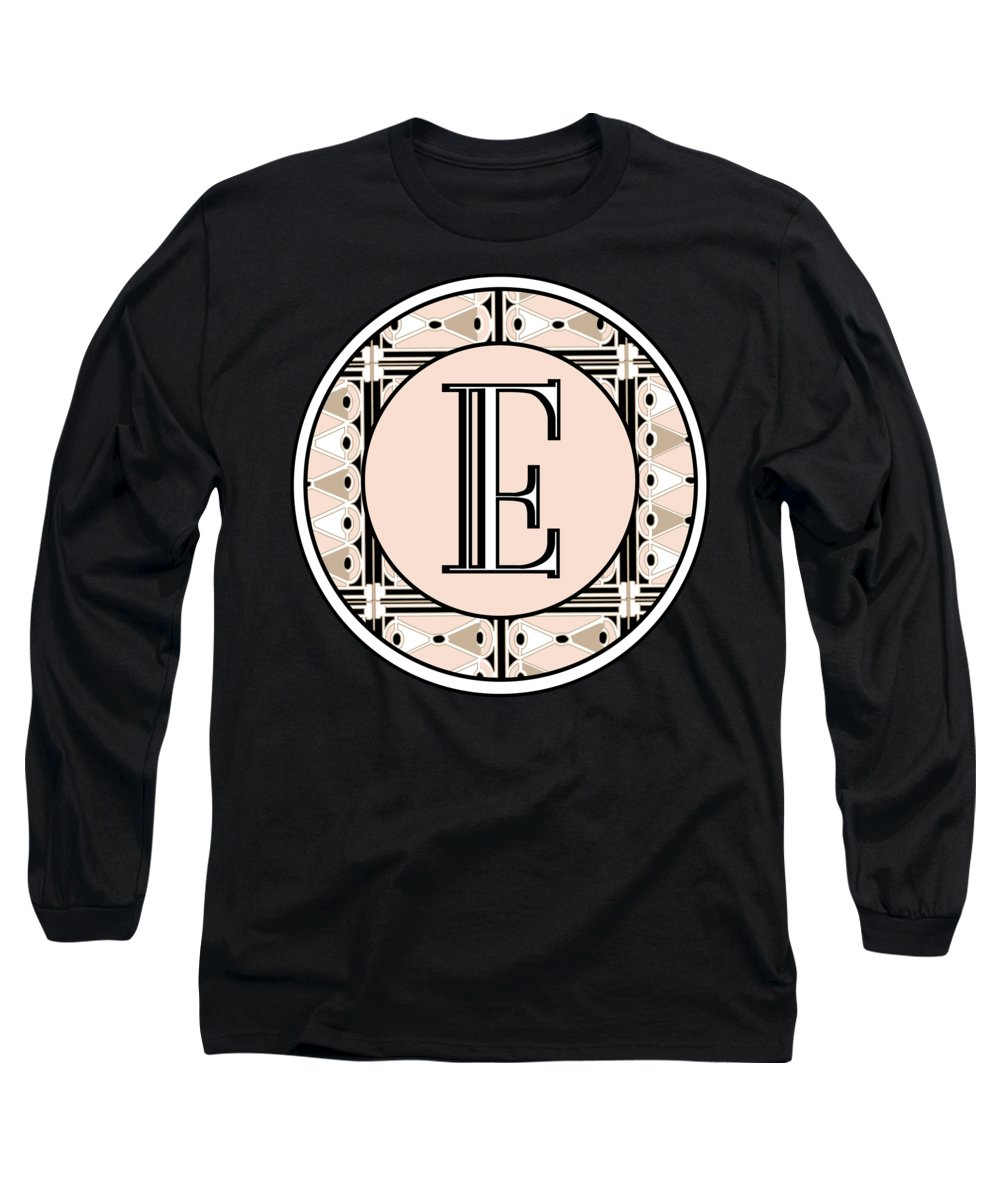 Art Deco Long Sleeve T-Shirt featuring the digital art Pink Champagne Deco Monogram E by Cecely Bloom
