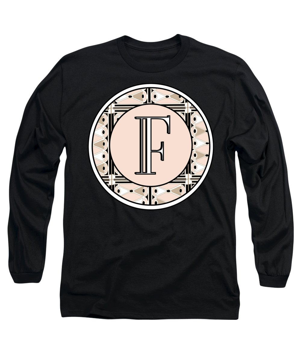 Art Deco Long Sleeve T-Shirt featuring the digital art Pink Champagne Deco Monogram F by Cecely Bloom
