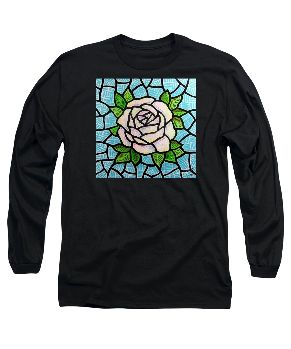 Rose Long Sleeve T-Shirt featuring the painting Pinkish Rose by Jim Harris