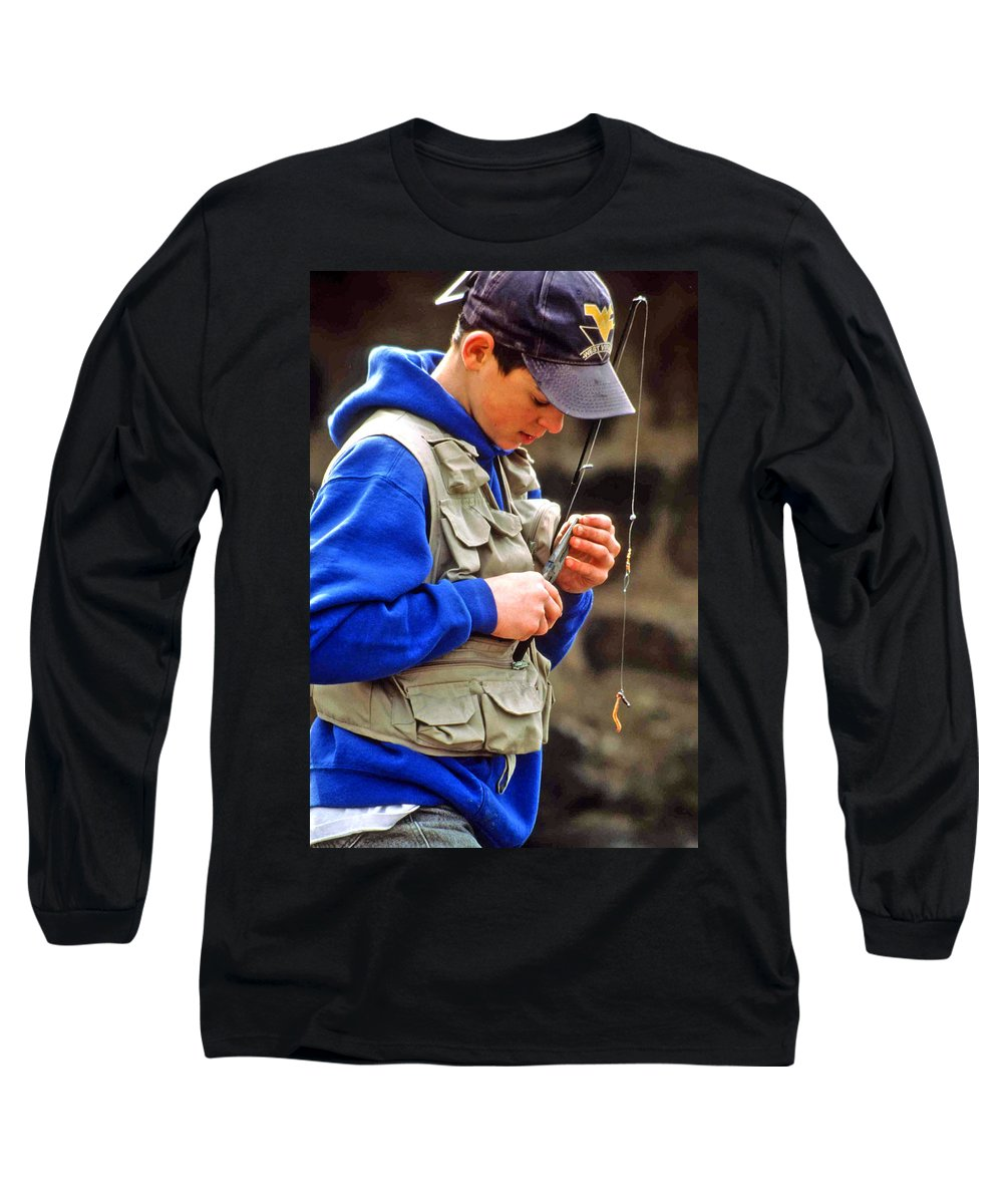 Boy Fishing Long Sleeve T-Shirt featuring the photograph Plan To Succeed by Laurie Paci