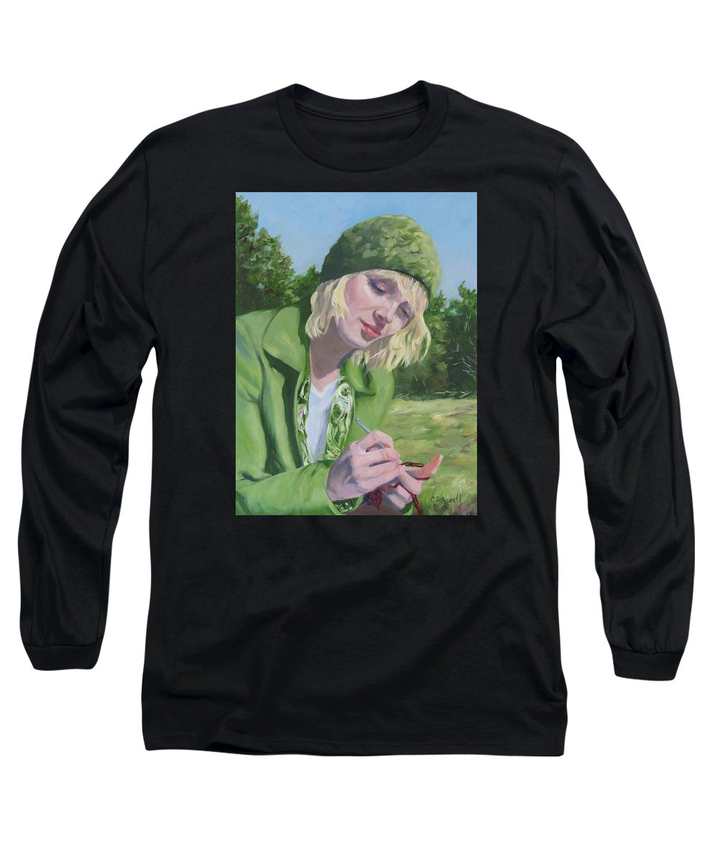 Figurative Long Sleeve T-Shirt featuring the painting Plein Air Crocheting by Connie Schaertl