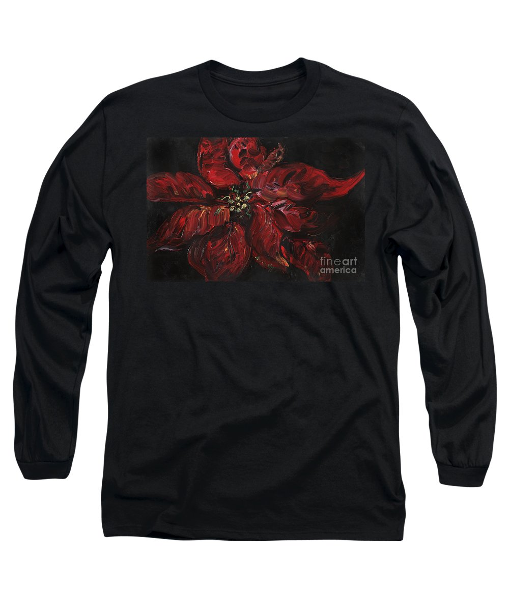 Abstract Long Sleeve T-Shirt featuring the painting Poinsettia by Nadine Rippelmeyer