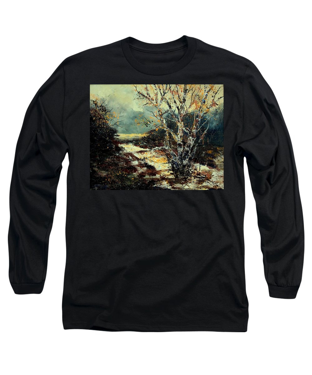 Tree Long Sleeve T-Shirt featuring the painting Poplars 45 by Pol Ledent