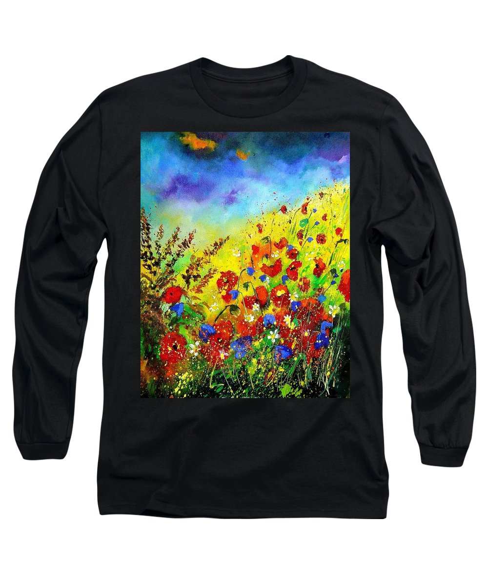Poppies Long Sleeve T-Shirt featuring the print Poppies And Blue Bells by Pol Ledent