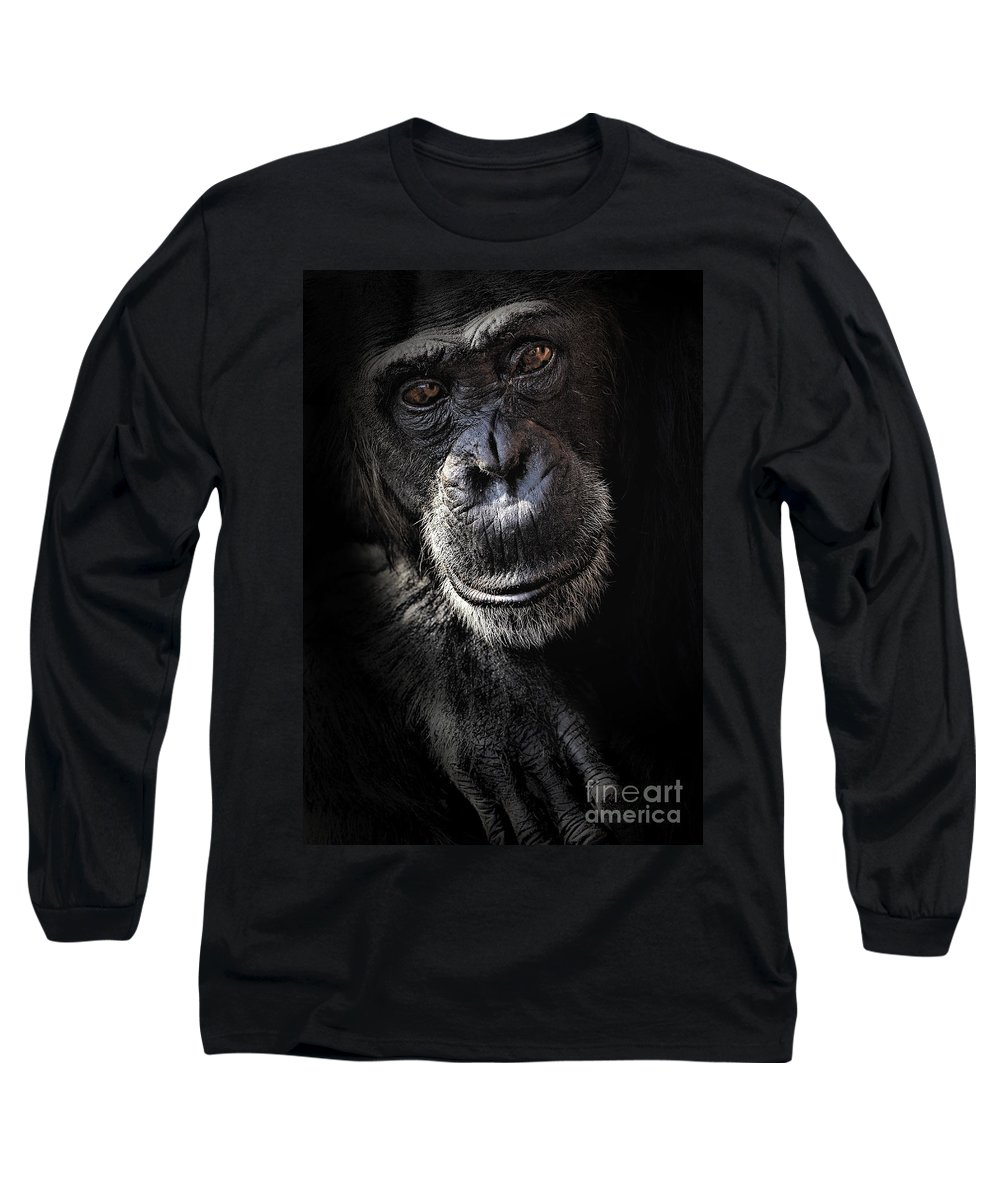 Chimp Long Sleeve T-Shirt featuring the photograph Portrait Of A Chimpanzee by Avalon Fine Art Photography