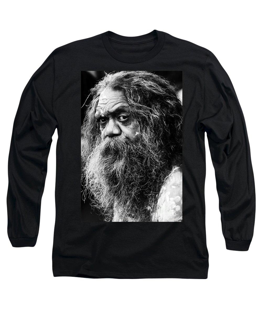 Aborigine Aboriginal Australian Long Sleeve T-Shirt featuring the photograph Portrait Of An Australian Aborigine by Sheila Smart Fine Art Photography