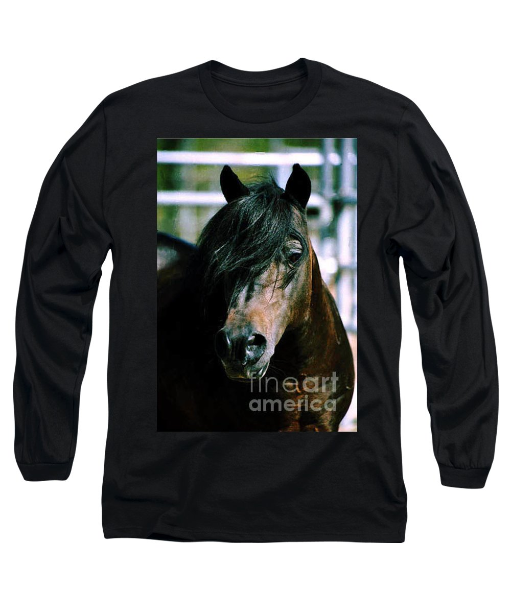 Horse Long Sleeve T-Shirt featuring the photograph Portrait Of His Majesty - The King by Kathy McClure