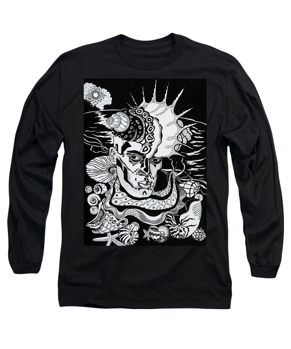 Surreal Long Sleeve T-Shirt featuring the drawing Poseidon by Yelena Tylkina