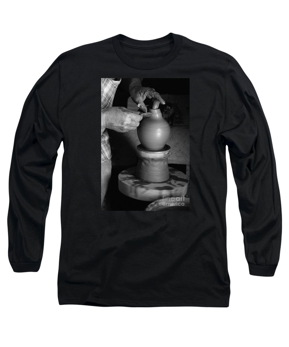 Azores Long Sleeve T-Shirt featuring the photograph Potter At Work by Gaspar Avila