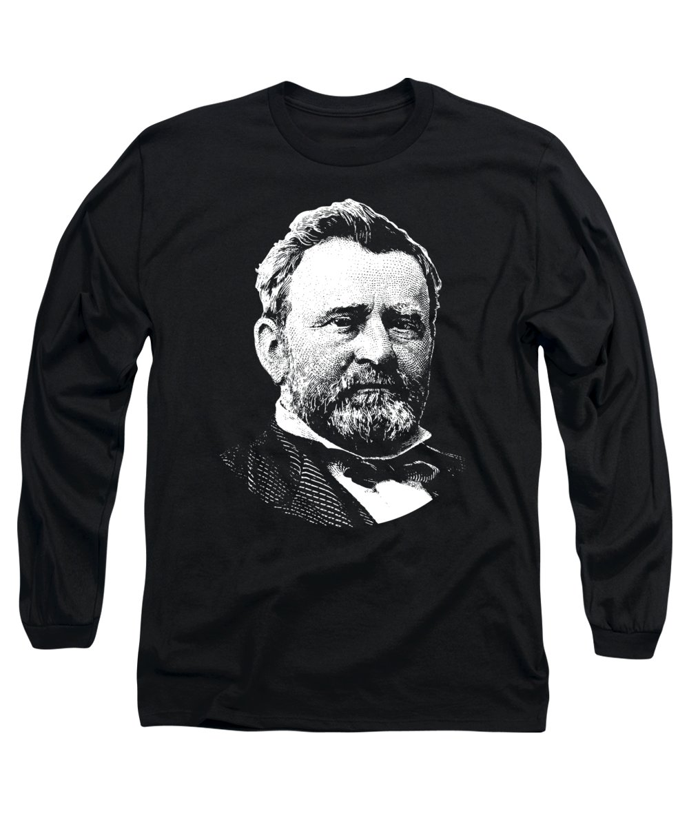 Us Grant Long Sleeve T-Shirt featuring the digital art President Ulysses S. Grant by War Is Hell Store
