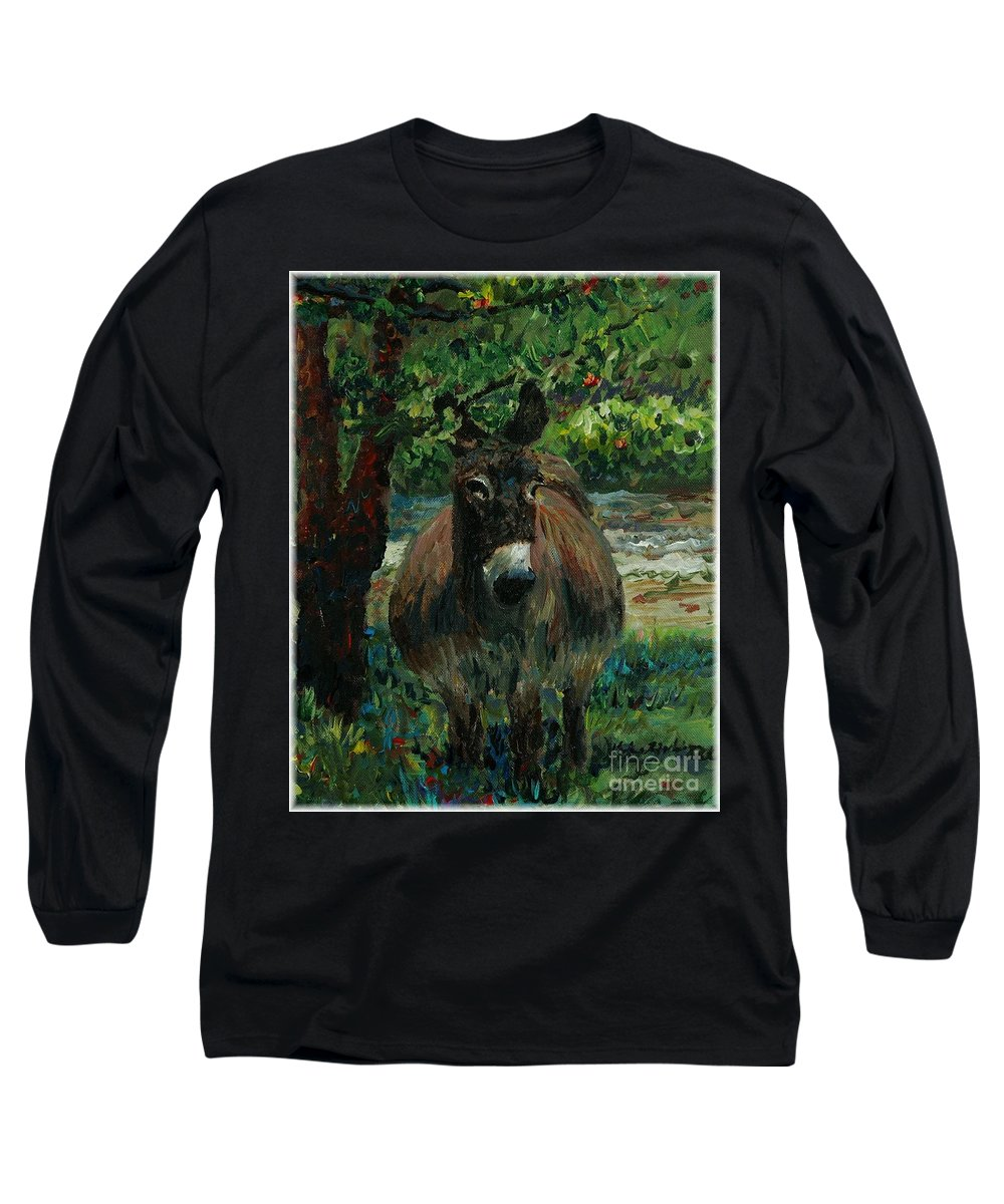 Donkey Long Sleeve T-Shirt featuring the painting Provence Donkey by Nadine Rippelmeyer