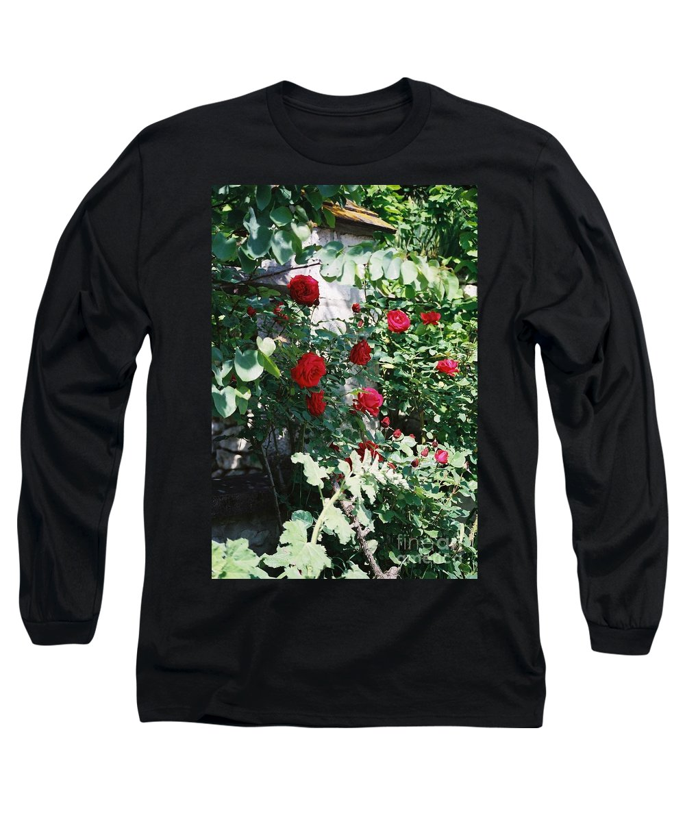 Floral Long Sleeve T-Shirt featuring the photograph Provence Red Roses by Nadine Rippelmeyer