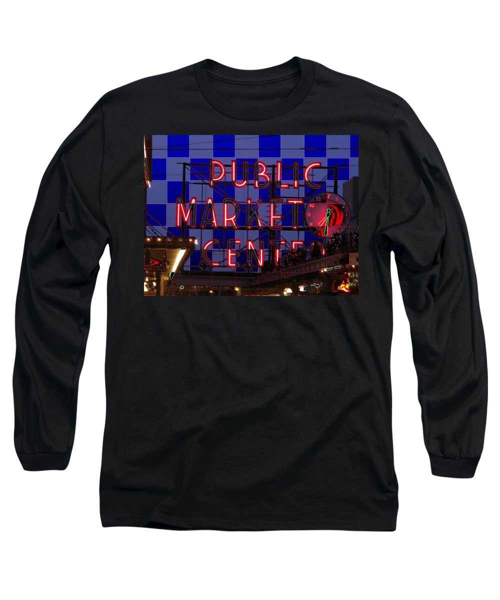 Seattle Long Sleeve T-Shirt featuring the digital art Public Market Checkerboard by Tim Allen