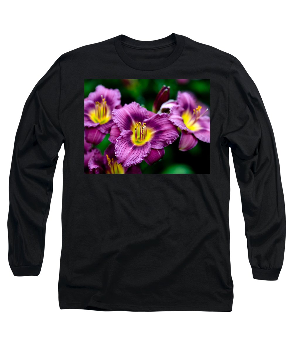 Flower Long Sleeve T-Shirt featuring the photograph Purple Day Lillies by Marilyn Hunt