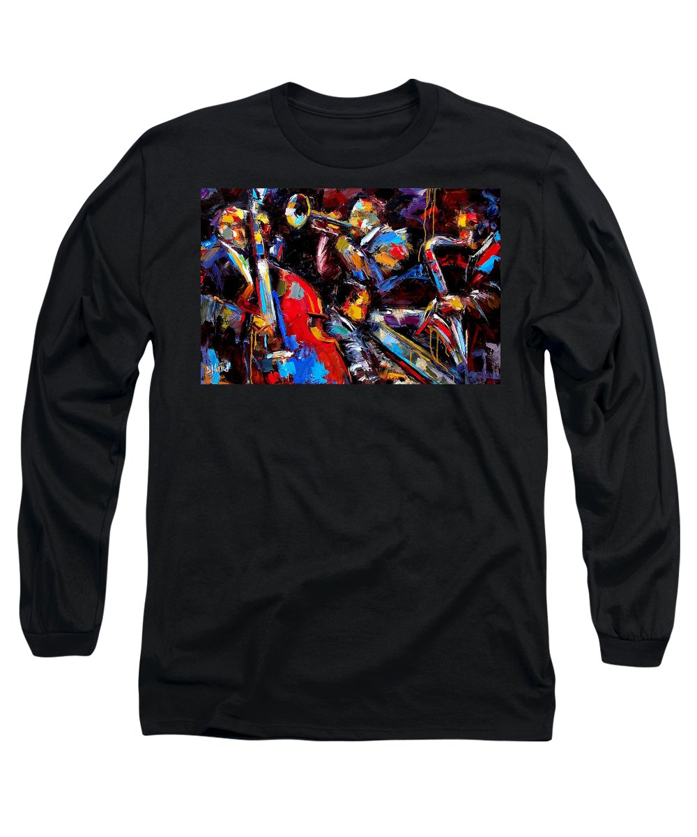 Jazz Paintings Long Sleeve T-Shirt featuring the painting Quartet by Debra Hurd